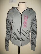 Zumba Feel the Music Gray Black Pink Zip Front Hoodie Sweat Jacket Fitness Dance