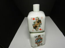 "Novelty Glass Liquor Bottle Stacked Cubes of Playing Cards Cream 8 3/8"" T NS"