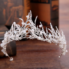 Baroque Wedding Bridal Silver Plated Vine Beads Pearl Crown Hairband Headband