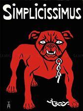 Simplicissimus Revista sátira Alemania Perro Vintage Anuncio Cartel art1497pylv