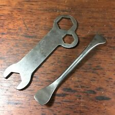 VINTAGE AJS MATCHLESS AMC MOTORCYCLE TOOL KIT MULTI WRENCH SPANNER + TYRE LEVER