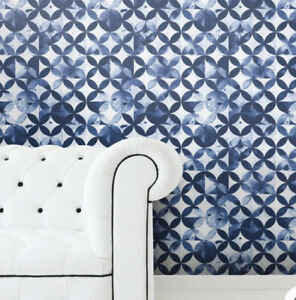 Paul Brent Moroccan Tile Blue Peel and Stick Wallpaper New One Roll