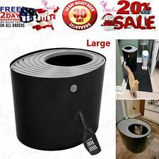 New ListingIris Top Entry Cat Kitty Pet Litter Box with Cats Litter Scoop Black Gray 1 Pc