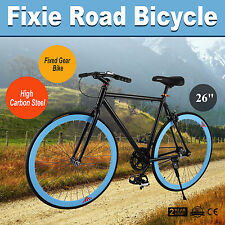 "26"" Zoll Single speed Fixie Fahrrad Bike Fixed Gear Rennrad FITNESSBIKE Blau"