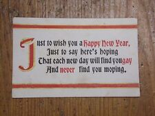 Vintage Postcard Just To Wish You A Happy New Year, Poem