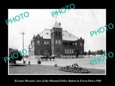 OLD LARGE HISTORIC PHOTO OF St LOUIS MISSOURI, THE MOUNTED POLICE STATION c1900