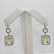 Stunning Cushion Cut Lemon Quartz and Diamond (0.63 TW) Dangle Earrings