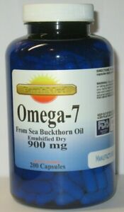 Omega 7 Fatty Acids - 200 Capsules - 900mg/serving - Natural Sea Buckthorn