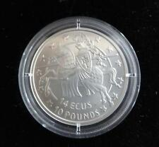 1992 B/U Silver Gibraltar 10 £ 14 écus pièce Chevalier à cheval jumping