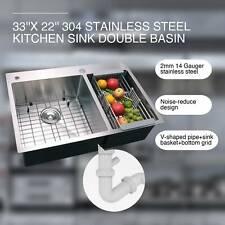 "33"" x 22"" x 9"" Stainless Steel Top Mount Kitchen Sink Dual Basin w/ Strainer"