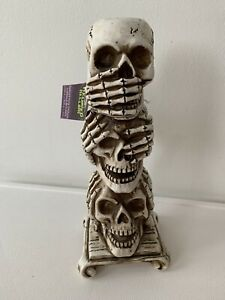 Tall Skull Pillar Candle Holder Stand Halloween Decoration Tealight Holder Decor