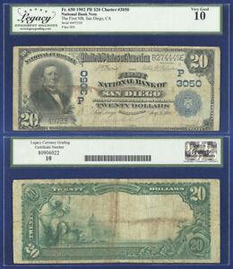 USA 1902 PLAIN BACK $20 FIRST NATIONAL BANK SAN DIEGO CA 3050