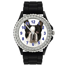 French Bulldog Crystal Rhinestone Mens Ladies Jelly Silicone Strap Watch SG317P