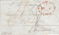 1843 COLONIAL PAID SYDNEY SHIP LETTER SENT TO HENRY DEANE AT COLCHESTER ENGLAND