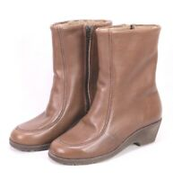 C68 Damen Lammfellstiefel Boots Leder braun Gr. 38 Stiefeletten ungetragen