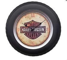 Harley Davidson Nostalgic Neon Clock Designed as motorcycle wheel with lighting