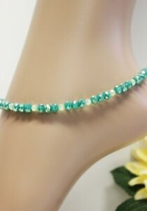 Glass Stone Jewellery XXL Stainless Steel Anklet Chain Beads Teal Variable #J016