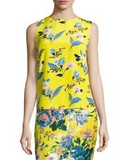 Diane Von Furstenberg Yellow & Blue Floral Sleeveless Silk Top Blouse M