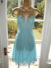"""Vintage 60s Slippery Sheer Nylon Stunning Scalloped Lacy Full Slip Petticoat 42"""""""
