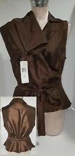 RALPH LAUREN Womens Pants Suit Sleeveless Top Ruffles Belt Size 12 Large Brown