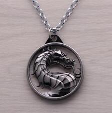 DZ1070 Game Mortal Kombat Dragon logo Metal Pendant Chain Necklace ~silver