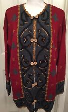 CAROLE LITTLE Knitwear Sweater Cardigan Large Red Gold Crochet Wool Blend NWT