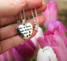 .925 Sterling Silver NECKLACE Life is Good Dogs Charm Pendant Dog Lover Gift Paw