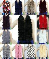 Women's 100% Real Rabbit Fur Wraps Handmade Scarves Warm Shawl Scarfs Gifts