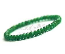 Natural 2x4mm Faceted Green Emerald Gemstone Beads Stretchy Bracelet 7.5'' AAA
