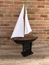 Vintage Large Stunning Hand Built RC Remote Control Pond Yacht Boat Wooden