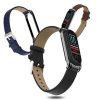 Strap Replacement Wristband Metal Frame PU Leather Band For Xiaomi Mi Band 4 3