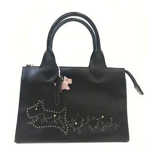Radley Grab Tote Handbag Dark Brown Leather Dog Design Smart Bag Small 091239