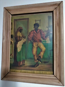 FOLK ART PRINT WOOD GLASS FRAME  African family of Three  VINTAGE