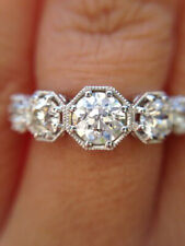 Certified 2.0Ct Excellent Cut Round 5 Stone Art Deco Wedding Ring 14K White Gold