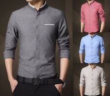 Mens Grandad Shirt Mandarin Casual Shirts Slim Fit Shirt Top Long Sleeve PS14