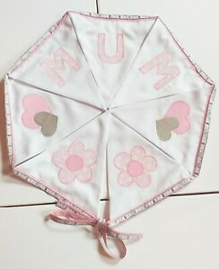 Pink White Mum Hearts & Flowers Bunting, party decor, fabric, Mother's day