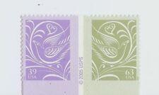 SCOTT #3998-99 – 2006 39c + 63c Wedding Doves - CENTER STRIP 1 OF EACH STAMP