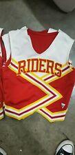 "Vintage Varsity Cheerleader Spirit Squad Top ""RIDERS"" White Yellow Red Size 30"
