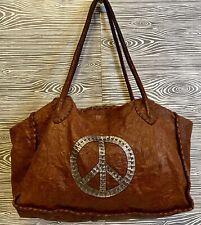 Vintage Carla Mancini ITALIAN LAMB LEATHER Peace Sign HAND WOVEN Cowgirl Handbag