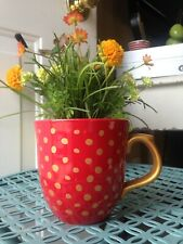 Pioneer Woman Red 13.5 oz Cup ☕️ With Gold Polka Dots With Handle