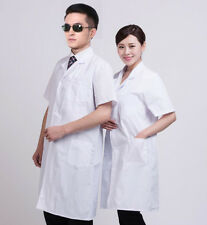 Unisex Short Sleeve Lab Coat Uniform Medical Pharmacist Nurse Doctor Gown Jacket