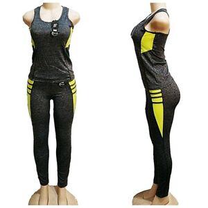 Women's 2 Piece Workout Tank Top + Ankle Legging Yoga Gym Running Athletic Set