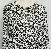 Ann Taylor LOFT Womens Blouse Large White Black Floral Popover Long Sleeve