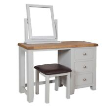 Dorset Oak Dressing Table Solid Stool Mirror Pine in Painted French Grey