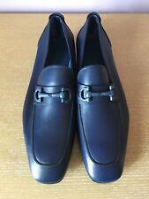 $750 NEW SALVATORE FERRAGAMO Men's Navy Blue Leather Gancio Bit Loafers 8.5 EE