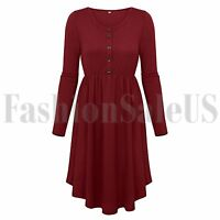 Women's Casual Round Neck Long Sleeve Button T Shirt Midi Skater Tunic Dress New