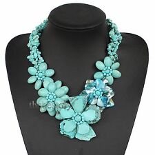 Blue turquoise shell flower necklace  Bridesmaid Jewelry