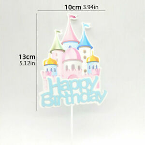 3Pcs Castle Bows Cake Toppers Happy Birthday Card Paper Baby Shower Party Decor