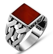 Turkish 925 Sterling Silver Popular agate aqeeq stone Mens mans ring ALL SİZE us