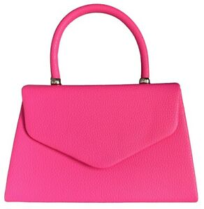 Cerise Pink Top Handle Clutch Bag Shoulder Bag Handbag Hot Pink Grab Bag Fuchsia